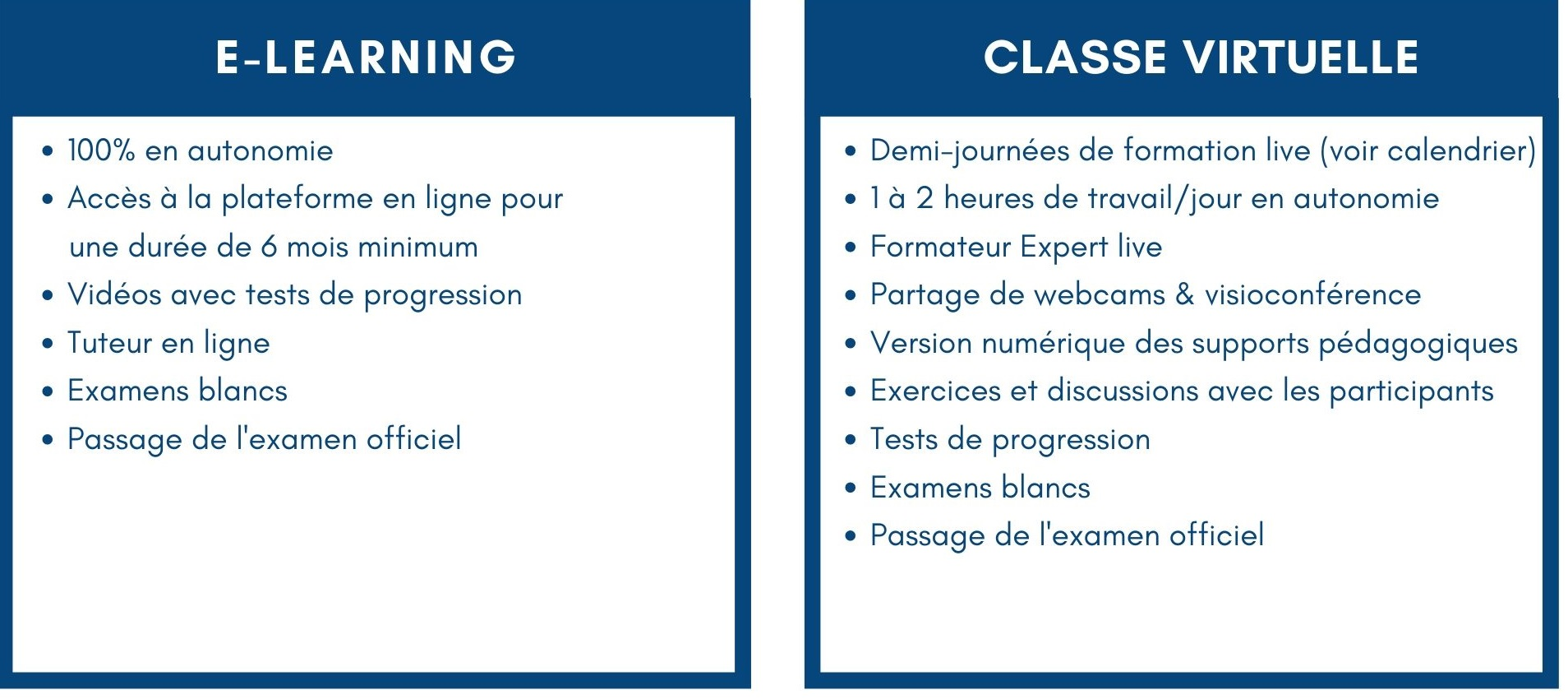 Compatatif e-learning vs classe virtuelle